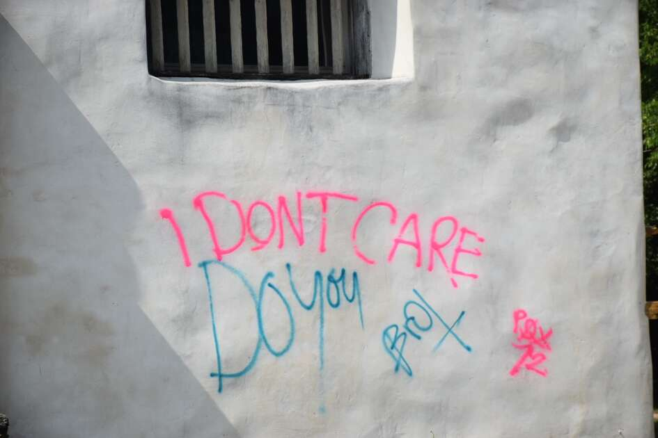 """I don't care. Do you?"" vandals wrote on the entrance gate to Mission San Juan Church on Friday, June 22, 2018."