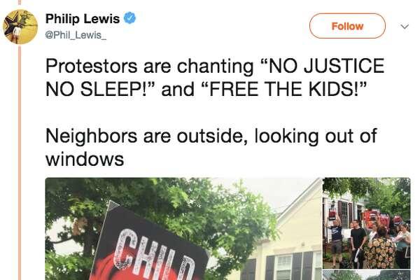 Protestors blasted audio Friday morningof detained migrant children outside the Virginia townhome Homeland Security Secretary Kirstjen Nielsen.