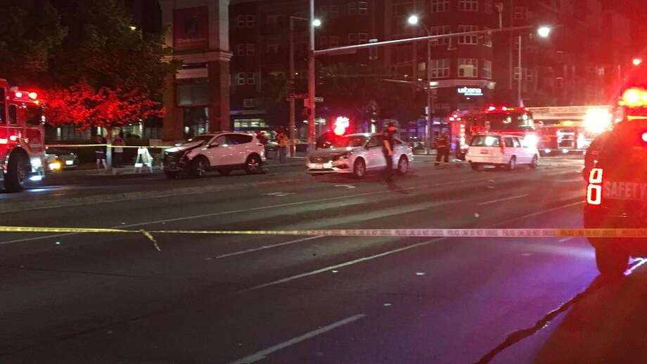 A pickup truck driver was killed early Friday morning in a Ballard pile-up at the neighborhood's central intersection. Photo: KOMO