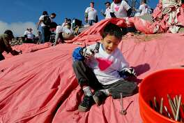 "Sarek Mallareddy, 4, hammers a spike during the annual event of the installation of the Pink Triangle by volunteers with ""Friends of the Pink Triangle"", on Saturday June 23, 2012, now  covers the Eastern hillside of Twin Peaks, in San Francisco, Calif."