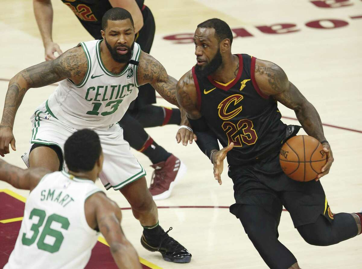 Cleveland Cavaliers' LeBron James, who carried his team through the Eastern Conference playoffs this year en route to their matchup with the Golden State Warriors for the NBA championship, would make the Houston Rockets a formidable foe next year for the defending champs. (AP Photo/Ron Schwane)