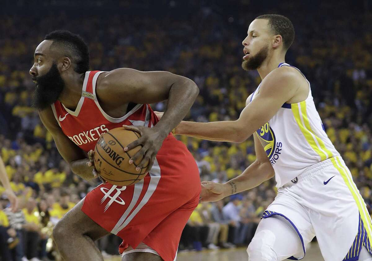 If LeBron James joined the Houston Rockets, he and guard James Harden would make perhaps the most dynamic one-two punch in the NBA. (AP Photo/Marcio Jose Sanchez)