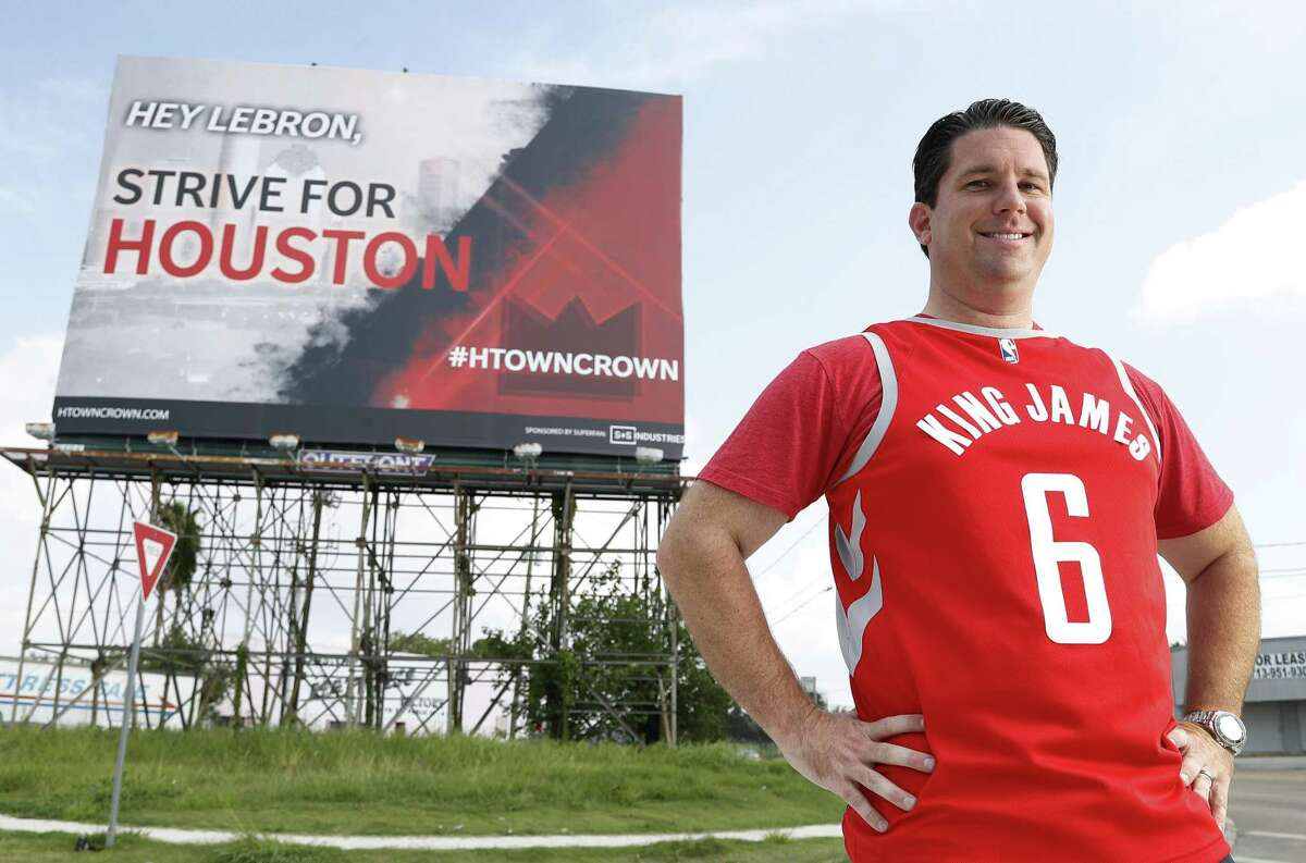 Greg Andrews, a Houston Rockets fan, created an ad campaign, including this billboard put up on I-45 South near Wayside, to encourage LeBron James to come to Houston, Friday, June 22, 2018, in Houston. ( Karen Warren / Houston Chronicle )