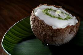 The Coconut & Pineapple dessert served at Atelier Crenn, created by Chef Patissier Juan Contreras, in San Francisco, Calif., on Wednesday, June 13, 2018.