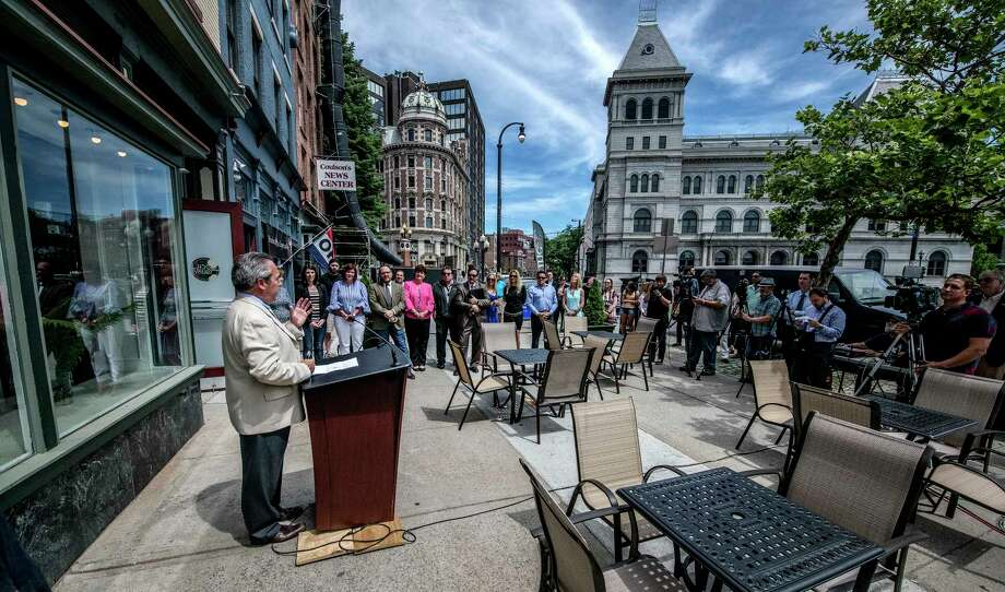 Developer Frank O'Connor speaks to the gathering at the grand opening of the Loch & Quay at 414 Broadway Friday June 22, 2018 in Albany, N.Y. (Skip Dickstein/Times Union) Photo: SKIP DICKSTEIN, Albany Times Union / 29944184A