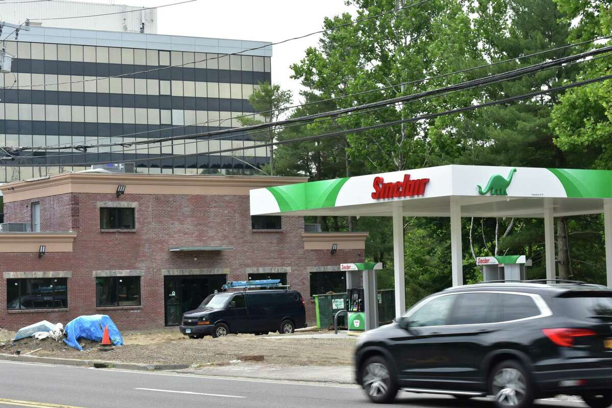 Construction continues on June 22, 2019 for what will be Connecticut's only Sinclair Oi gas station and convenience store, and only the second in New England, at 479 Main Ave. in Norwalk, Conn. In Salt Lake City where the company is based, a Sinclair station has the lowest gas price of any competitor save for warehouse clubs like Costco.
