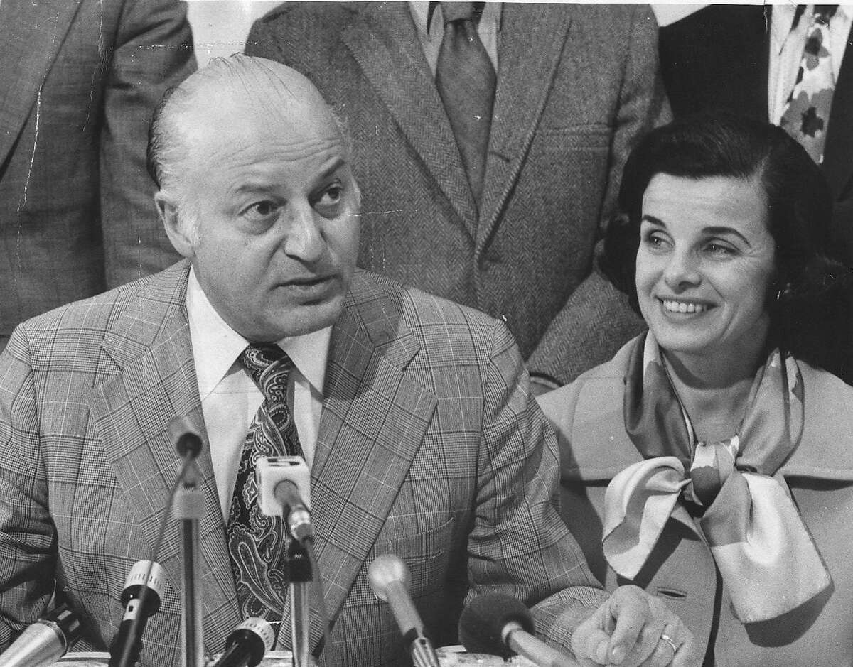 ALIOTO-FEINSTEIN/B/14NOV97/MN/EB--Joseph Alioto and Dianne Feinstein at mayors press conference at 4 a.m. on Friday, March 15, 1974. CHRONICLE PHOTO BY EDWARD BROOKS