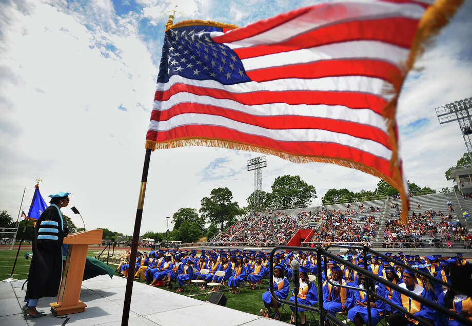 Superintendent of Schools Aresta Johnson addresses the graduates at the Harding High School graduation at Kennedy Stadium in Bridgeport, Conn. on Friday, June 22, 2018. Photo: Brian A. Pounds, Hearst Connecticut Media / Connecticut Post