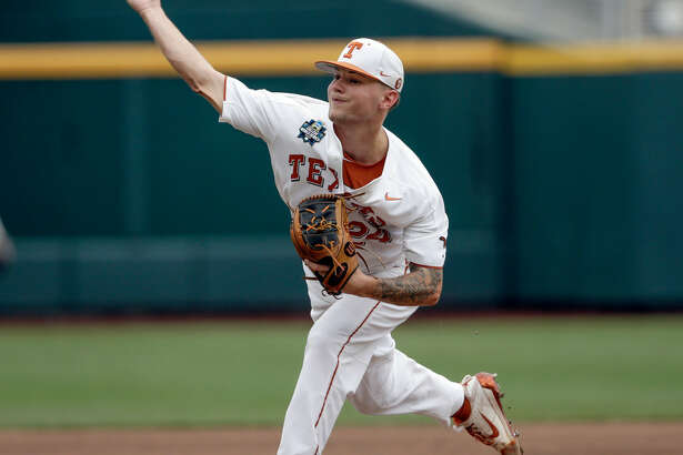 Texas pitcher Chase Shugart (24) works against Florida in the fourth inning of an NCAA College World Series baseball elimination game against Florida in Omaha, Neb., Tuesday, June 19, 2018. (AP Photo/Nati Harnik)