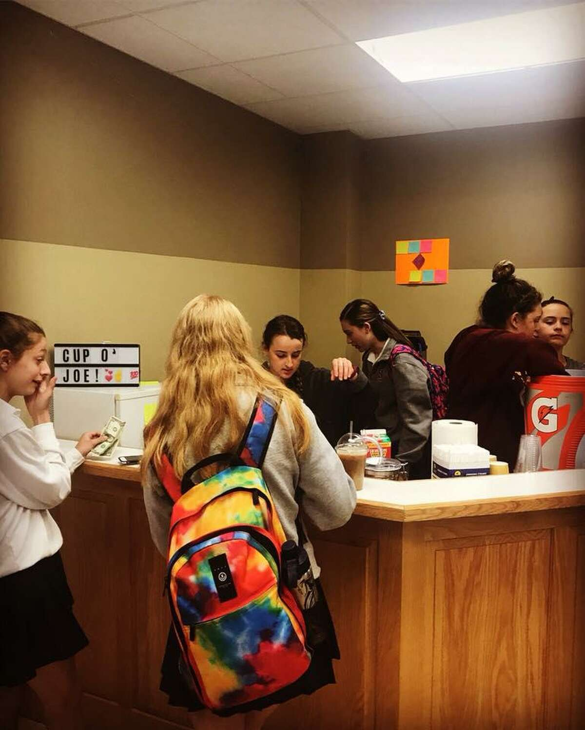 Students at St. Joseph High School in Trumbull opened the Cup O?' Joe Café in the school to benefit the Café de las Sonrisas in Granada, Nicaragua.