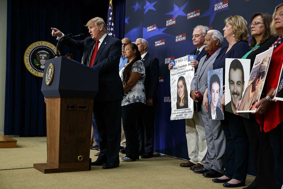 President Donald Trump speaks about immigration alongside family members affected by crime committed by undocumented immigrants, at the South Court Auditorium on the White House complex, Friday, June 22, 2018, in Washington. Photo: Evan Vucci / Associated Press