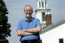 Rev. Michael Moran will be retiring from the First Congregational Church in New Milford after nearly 29 years. His last day is July 1. Photo Monday, June 18, 2018.