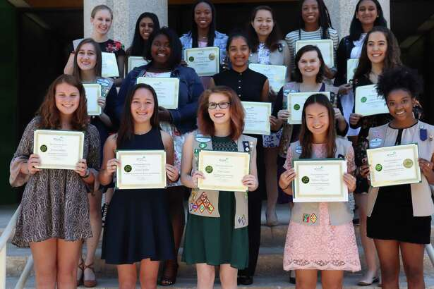 Recipients of the 2017 Gold Award Scholarships presented by The Emerald Circle (TEC) of Girl Scouts of San Jacinto Council. In front from left are Jessica Sidney, Isabel Sjodin, Erin Lewis, Tiffany Nguyen and Jackera Davis; in the second row are Adriana Kelly, Meagan Perkins, Varsha Vasu, Angela Lytle and Juliette Strope; and in the third row are Morgan Calvey, Sachi Khemka, Akayla Williams, Kellie Escovy, Tyler Scott and Anusri Shah. Not shown are Neha Ali, Allyson Brown, Anna Kimata, Meghan Lu, Abigail Partridge, Evelyn Selz, Annabel Sotomi and Morgan Turley. TEC awarded $30,000 to 24 young women at its annual Gold Award Scholarship presentation on April 15.