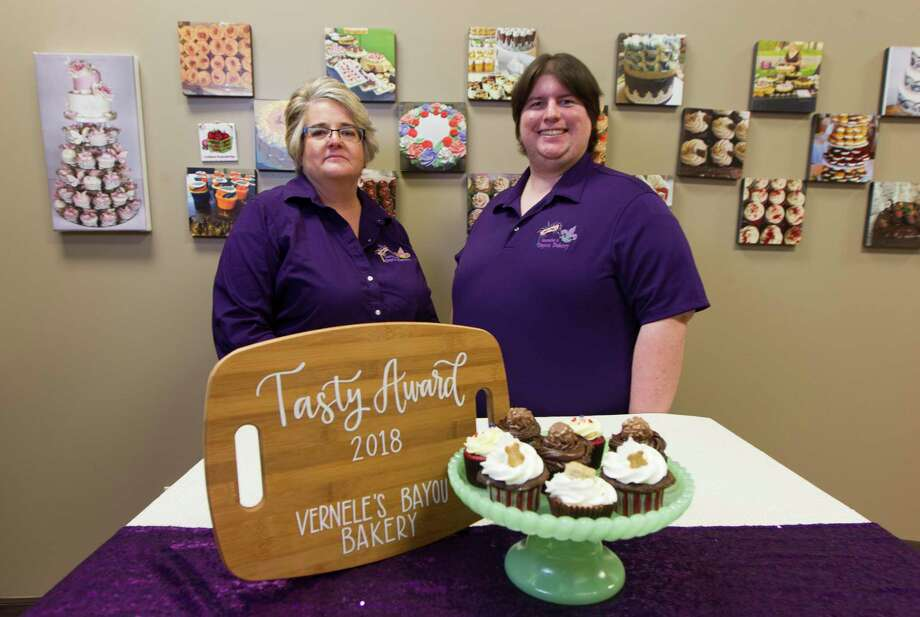 Pictured are Linda Ezernack and her nephew Zach pose from Vernele's Bayou Bakery. One year ago, Conroe Coffee moved a block down the street on the back side of the Courthouse and reopened as Bean Punk Coffee with Vernele's Bayou Bakery, Linda Ezernack as Leo Ohn's partner. Coffee and baked goods are a great pair! Photo: Jason Fochtman, Staff Photographer / Houston Chronicle / © 2018 Houston Chronicle