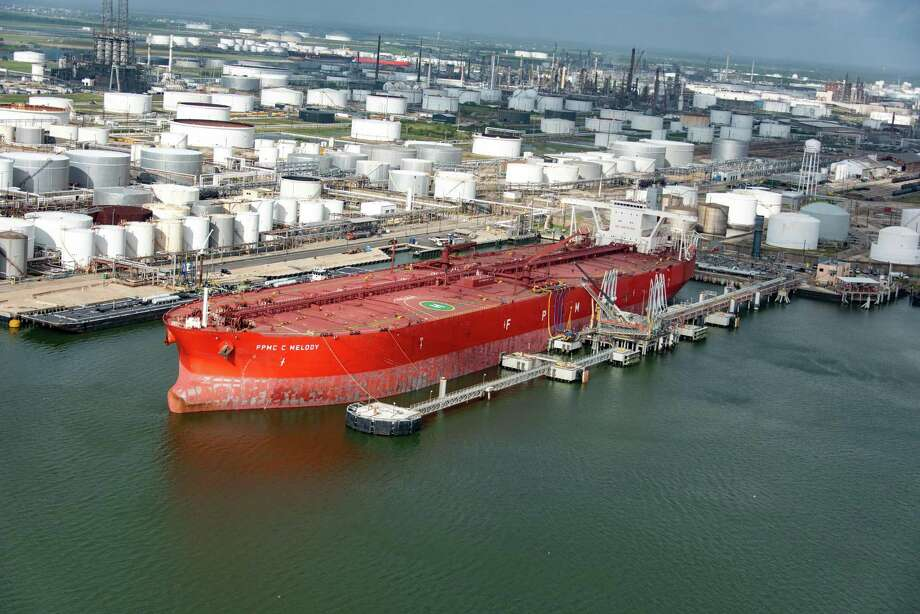 The FPMC C Melody is the first Very Large Crude Carrier to dock and take on crude oil in Texas City. It's shown at the Enterprise Products Partners terminal. Photo: Enterprise Products Partners L.P. / ENTERPRISE
