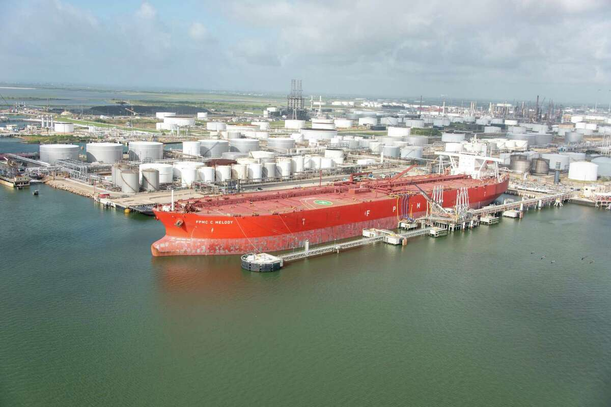The FPMC C Melody was the first Very Large Crude Carrier to dock and take on crude oil in Texas City. NEXT: See major pipeline projects in Texas that will bring oil for export to the Gulf Coast.