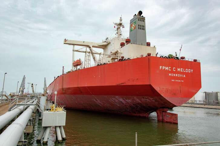 The FPMC C Melody is the first Very Large Crude Carrier to dock and take on crude oil in Texas City. It's shown at the Enterprise Products Partners terminal.