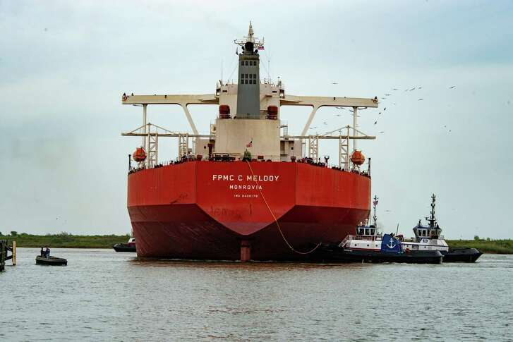 The FPMC C Melody was first Very Large Crude Carrier to dock and take on crude oil in Texas City. The tanker can hold up to 2 million barrels of oil