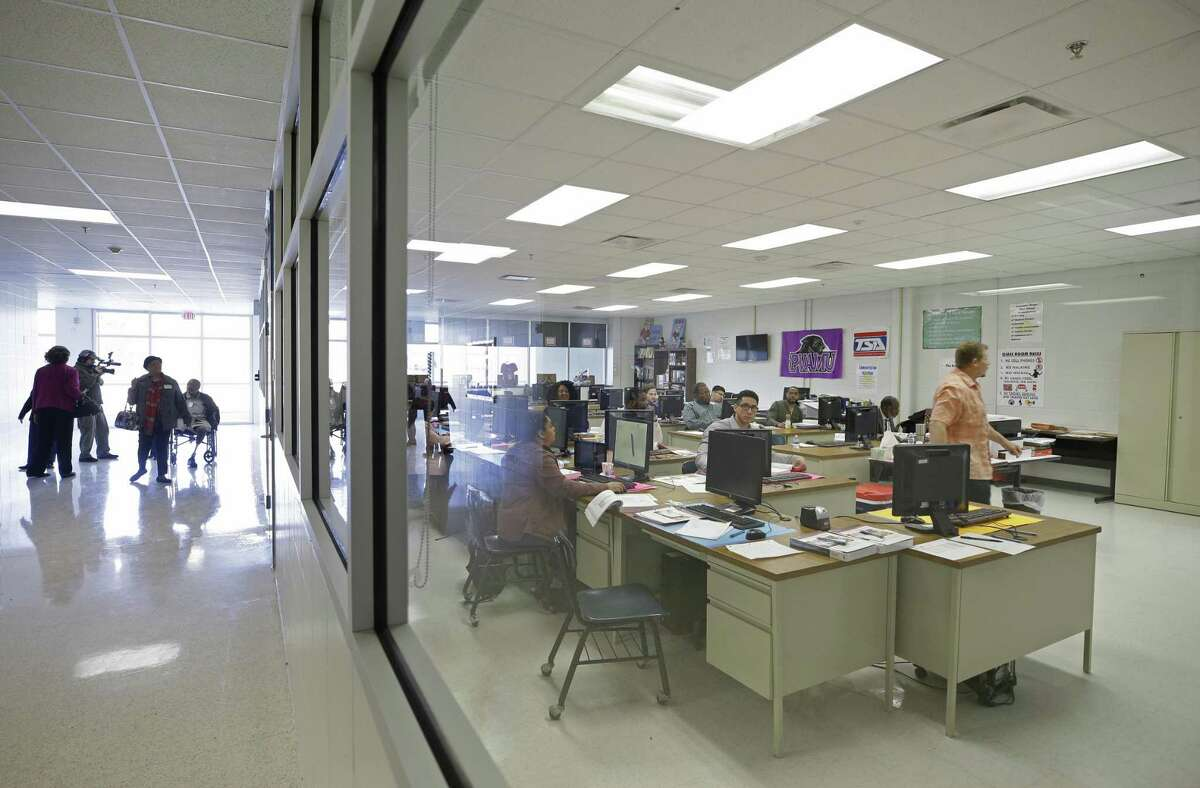 The career and technical education labs area are shown during a campus tour after a ceremony to celebrate the completion of renovation at Kashmere High School, 6900 Wileyvale Road, Monday, Jan. 23, 2018, in Houston. The classrooms where combined to make larger spaces with windows. The renovations were done as part of the Houston Independent School District?'s 2012 Bond Program. ( Melissa Phillip / Houston Chronicle )
