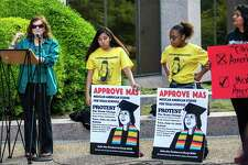 """Protestors gathered in Austin during a """"Protest the Name Change/Keep Mexican American Studies"""" rally before the Texas State Board of Education meeting to discuss the new course."""