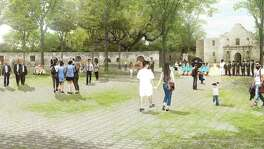 """The Alamo Plaza draft plan includes an """"open air museum"""" — a shaded, park like setting that emphasizes views of the church."""