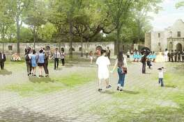 "The Alamo Plaza draft plan includes an ""open air museum"" — a shaded, park like setting that emphasizes views of the church."