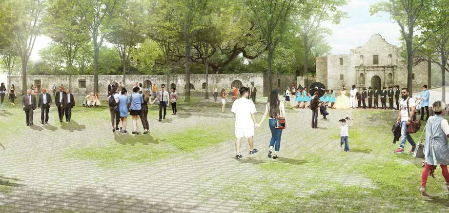 """The Alamo Plaza draft plan includes an """"open air museum"""" — a shaded, park like setting that emphasizes views of the church. Photo: /Reed Hilderbrand LLC / handout"""