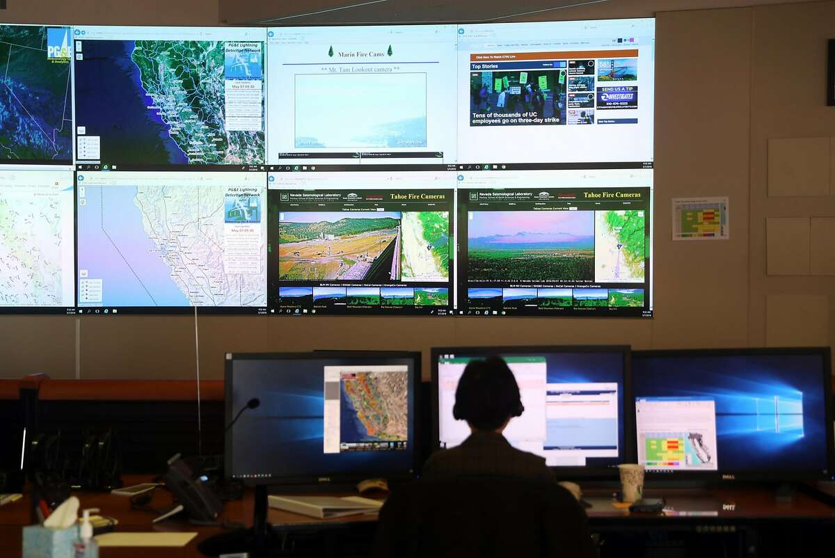 An analyst works at PG&E's Wildfire Safety Operations Center in San Francisco, CA on Monday, May 7, 2018.