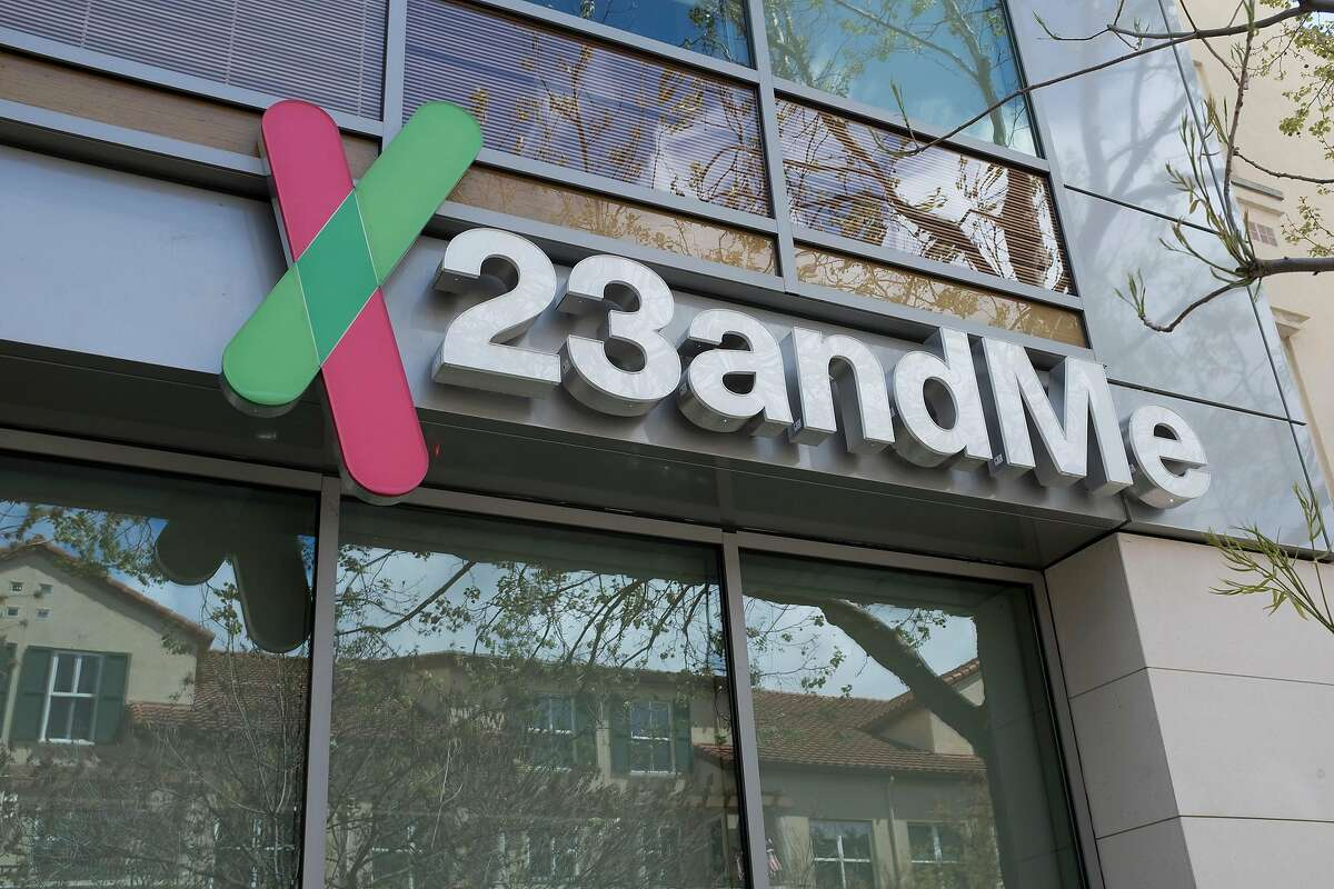 A sign of 23andMe is seen at the company's office in Mountain View, Calif. on April 16, 2018. (Yichuan Cao/Sipa USA/TNS)