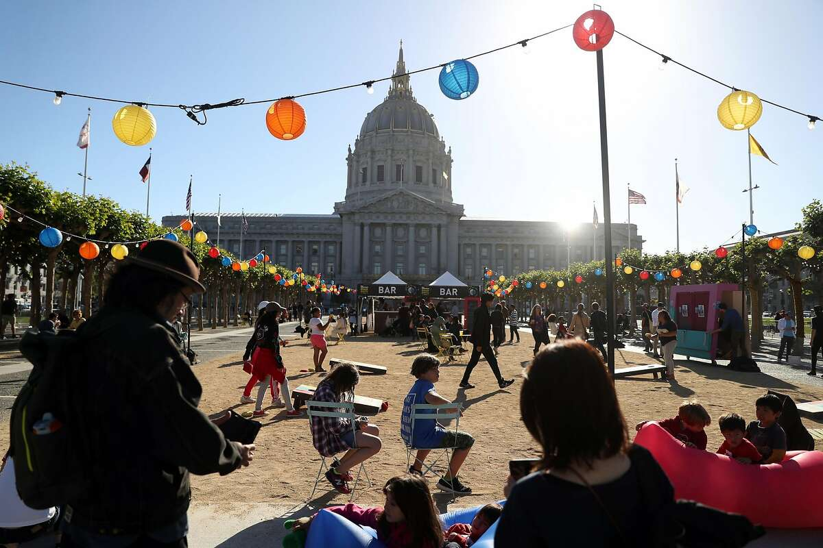 A block party at Civic Center Plaza in San Francisco, Calif. on Thursday, June 21, 2018. Columnist Joe Mathews asks, is it still worth getting to know your neighbors?