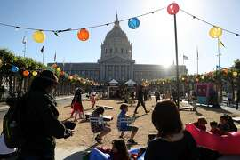 Block party at Civic Center Plaza in San Francisco, Calif. on Thursday, June 21, 2018.