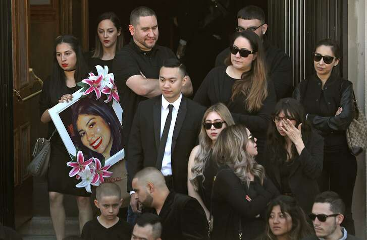 Family, friends and co-workers of Lilianna Preciado, who died while working on a water main in San Francisco on June 13, celebrate her life at a memorial mass at St. Peter's Catholic Church.