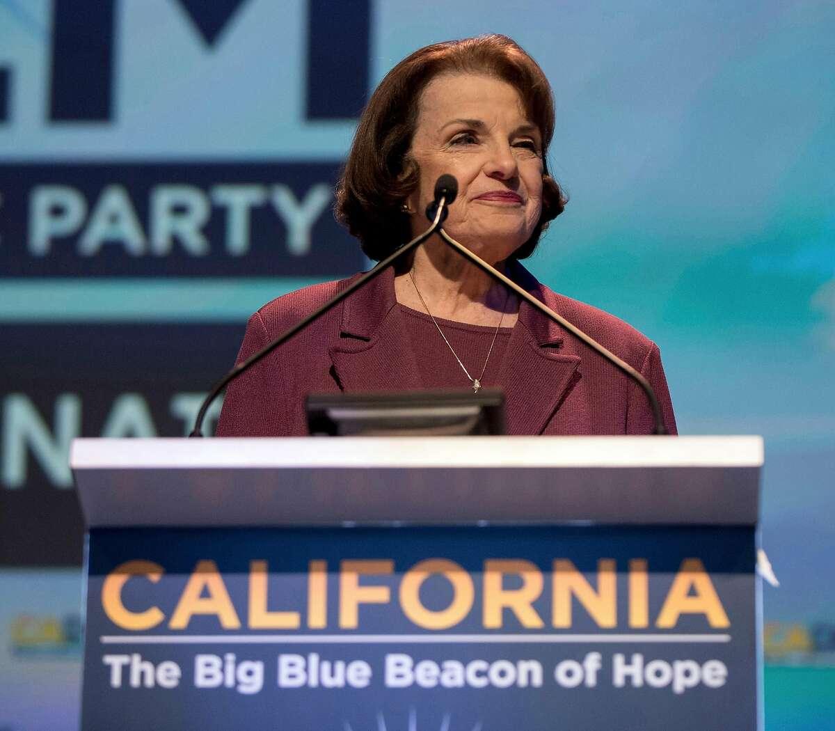 U.S. Sen. Dianne Feinstein (D-Calif.) addresses the 2018 California Democrats State Convention on February 24, 2018, in San Diego. (Brian Cahn/Zuma Press/TNS)