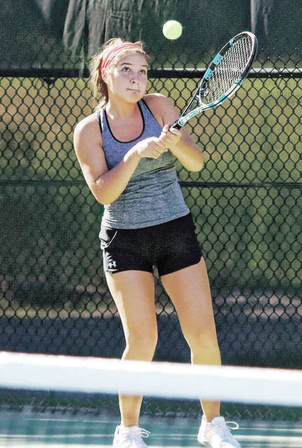 Hannah Macias of Godfrey defeated Sarah Kreutzrager of Roxana and Lewis and Clark Community College 8-4 to win the women's open title at the Alton Closed Tennis Tournament late Thursday night. Photo:       Telegraph Photo