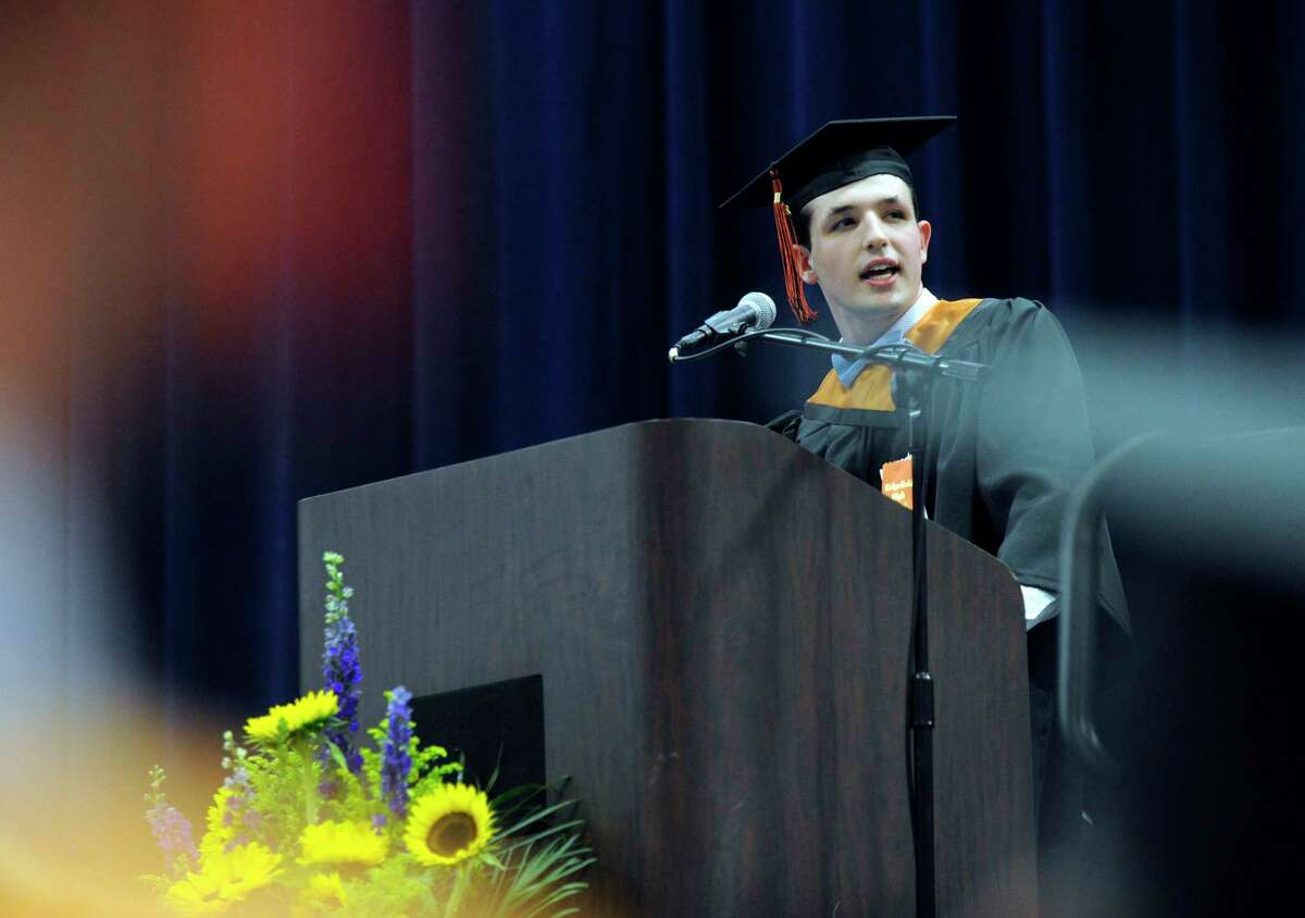 Class speaker Brandon Grizzaffi speaks during Ridgefield High School's graduation ceremony held Friday, June 22, 2018, at the O'Neill Center at Western Connecticut State University.