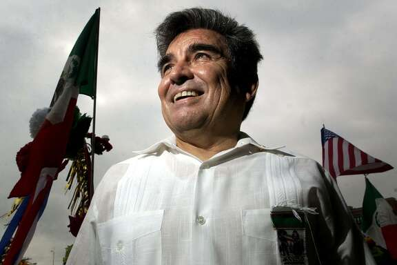 Johnny Mata poses for a photograph before the start of the LULAC's 11th annual Cinco de Mayo Parade, Saturday, May 3, 2003, in Houston. Thousands of Houstonians flocked to downtown to see the annual event. CHRISTOBAL PEREZ/HOUSTON CHRONICLE.   HOUCHRON CAPTION (05/05/2003):  At 66, Johnny Mata is winding down from duties at the League of United Latin American Citizens. He has served two terms as state director, two as state deputy director and six as director of two local districts.