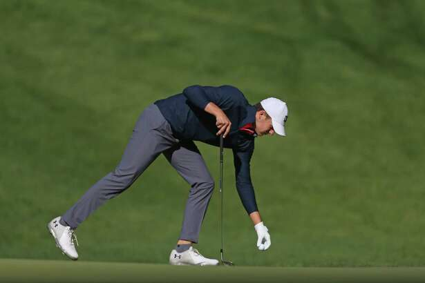 Jordan Spieth lines up a putt on the 11th hole during the second round of the Travelers Championship on Friday.