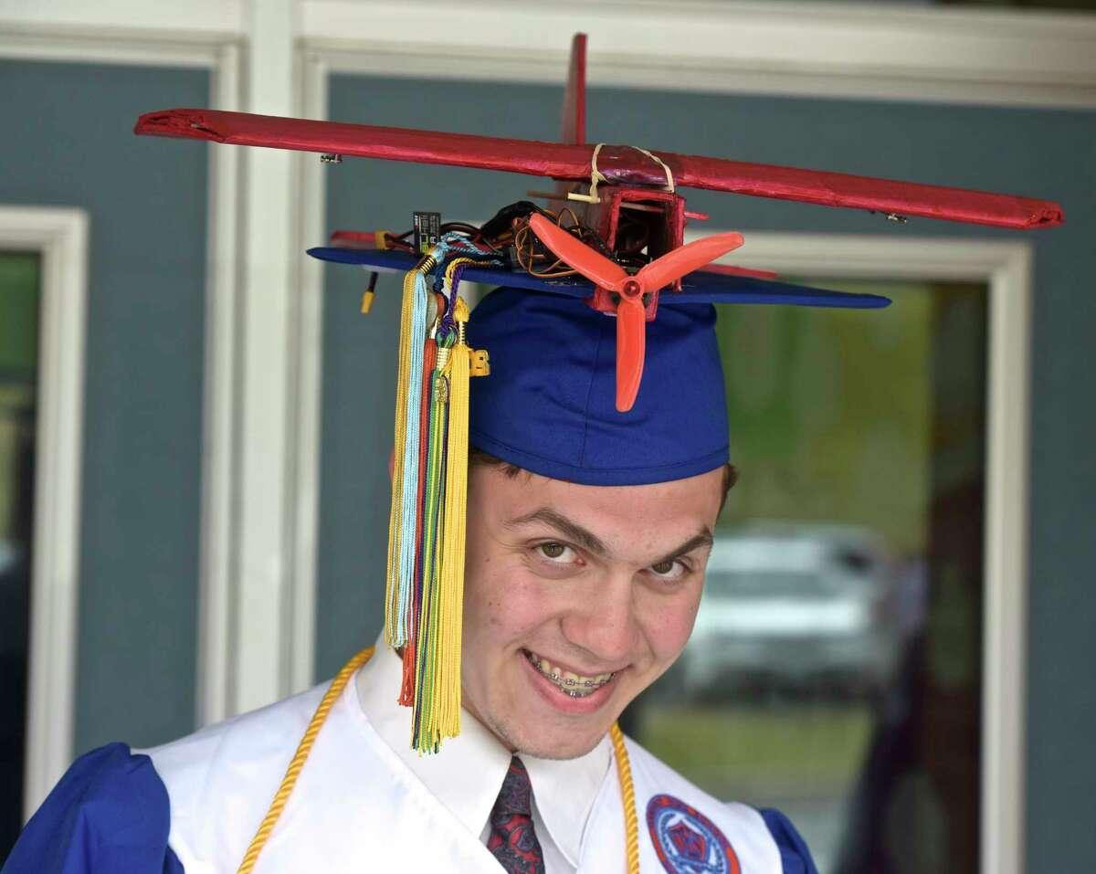 Seth Michael Utter had a working RC plane on his cap for the Danbury High School 2018 Graduation, Friday evening, June 22, 2018, at Danbury High School, Danbury, Conn.
