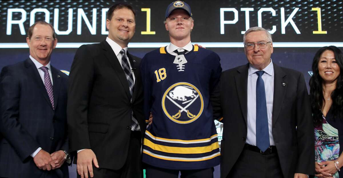 DALLAS, TX - JUNE 22: Rasmus Dahlin poses after being selected first overall by the Buffalo Sabres during the first round of the 2018 NHL Draft at American Airlines Center on June 22, 2018 in Dallas, Texas. (Photo by Bruce Bennett/Getty Images)
