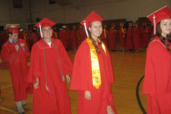 Wamogo Regional High School's Class of 2018 graduated on Friday, June 22, 2018 at the high school in Bantam. The students gathered in the gym, then slowly walked into the auditorium where their families and friends waited and welcomed them with cheers and applause.