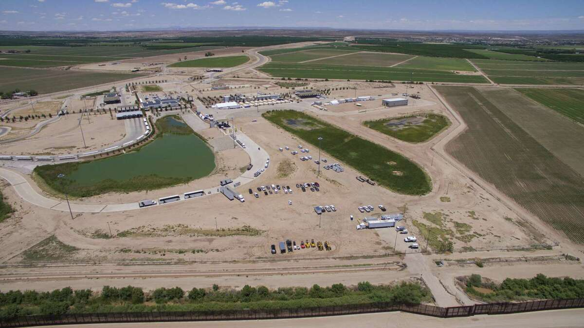 """An aerial shot of the C.B.P. facility where the newly formed """"tent city"""" is located, Saturday, June 16, 2018, in Tornillo. Photo by Ivan Pierre Aguirre/ for the San Antonio Express-News"""