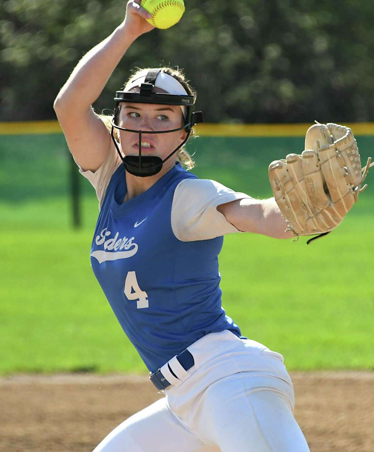 Ichabod Crane pitcher Calista Phippen throws the ball during a softball game against Cohoes on Monday May 7, 2018 in Cohoes, N.Y. (Lori Van Buren/Times Union)