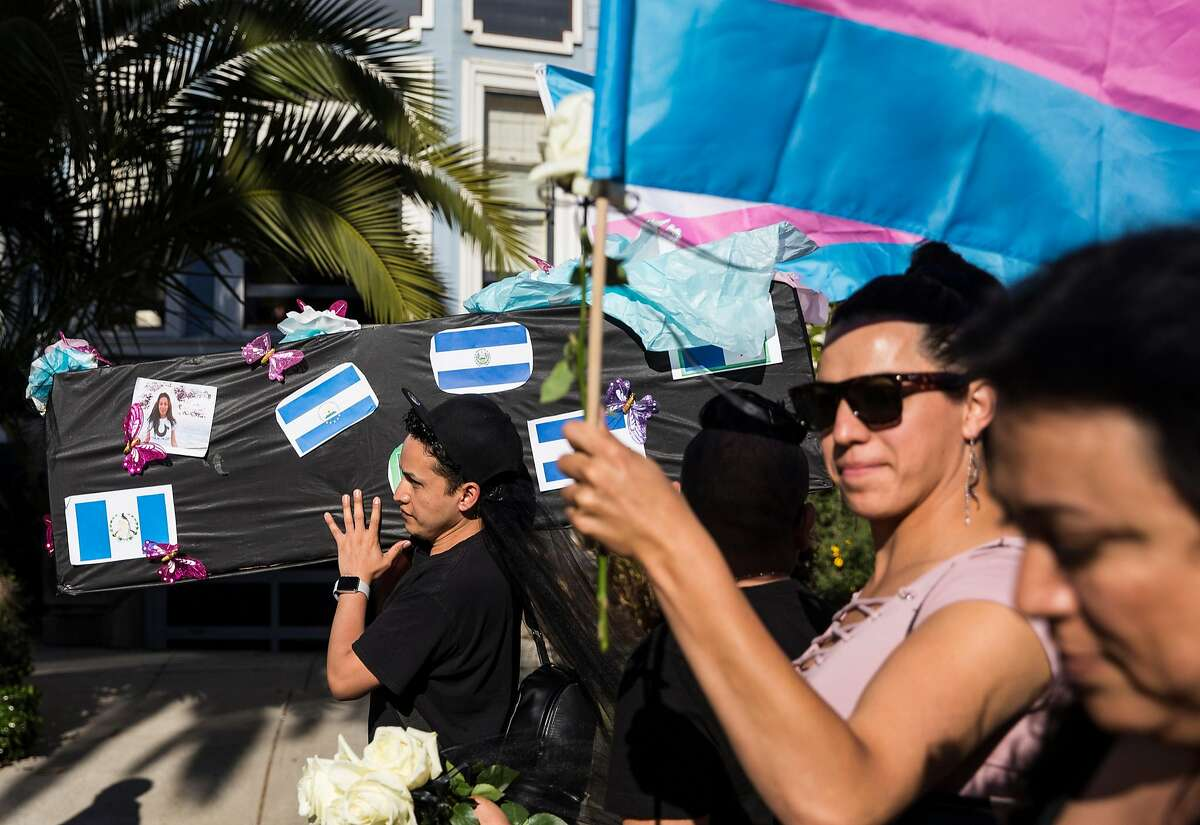A member of El La Para Trans Latinas carries a coffin symbolizing the lives lost within the Black and Hispanic Trans communities during the annual Trans March at Mission Dolores Park in San Francisco, Calif. Friday, June 22, 2018.