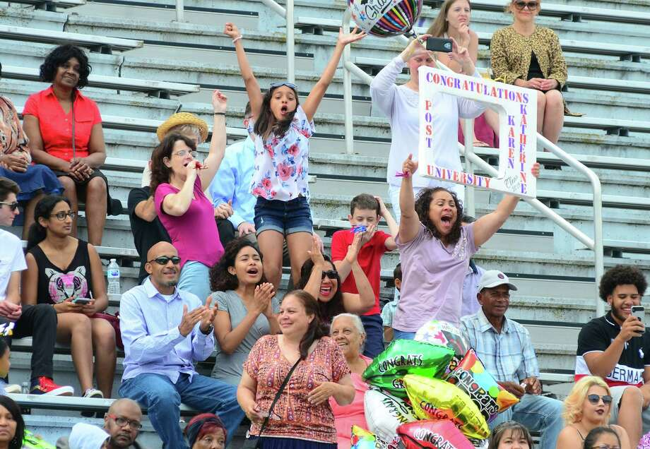 The Interdistrict Science Magnet School's 3rd Annual Commencement Ceremony at Central High School's Kennedy Stadium in Bridgeport, Conn., on Friday June 22, 2018. Photo: Christian Abraham, Hearst Connecticut Media / Connecticut Post
