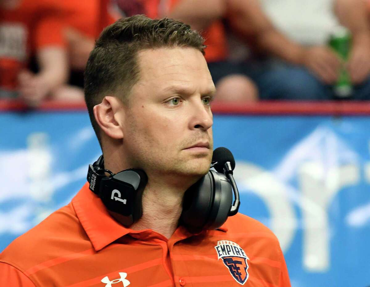 Albany Empire head coach Rob Keefe coaches against the Philadelphia Soul during a arena football game Saturday, June 16, 2018, in Albany, N.Y. (Hans Pennink / Special to the Times Union)
