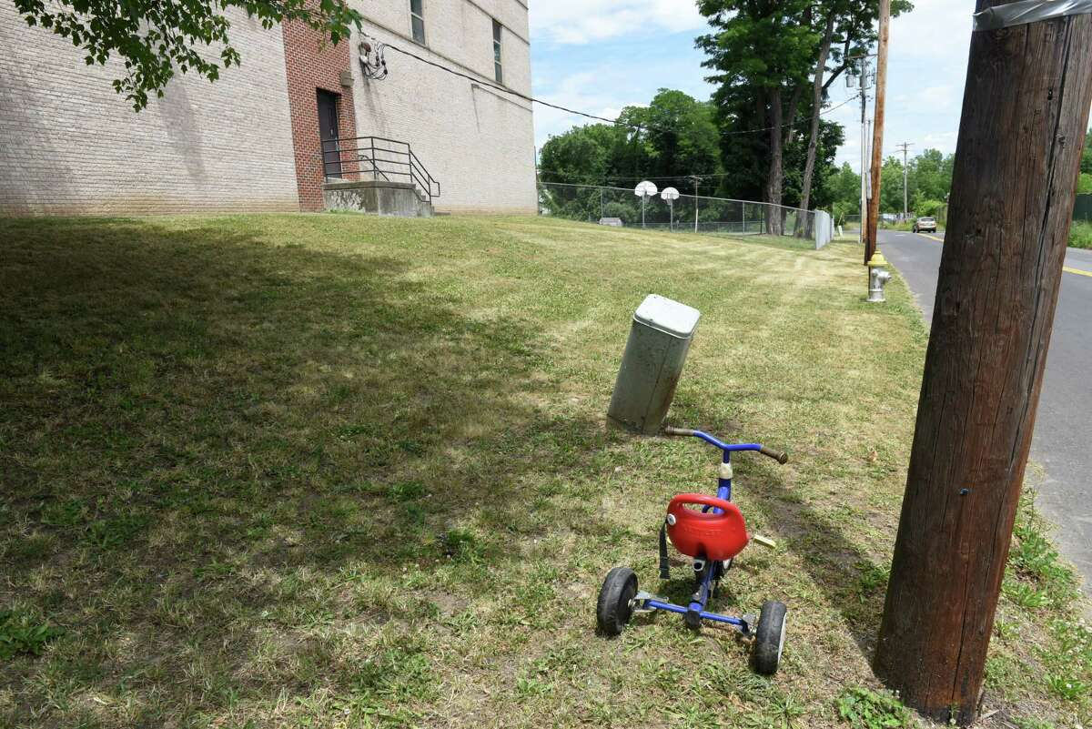 A child's bike sits outside of the Children's Home of Kingston on Friday, June 22, 2018, in Kingston, N.Y. The Kingston facility is quietly serving as one of the detention facilities for children who've been separate from their parents after seeking asylum in the United States. (Will Waldron/Times Union)