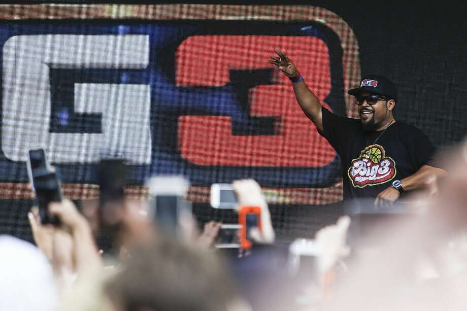 Big3 basketball league co-creator Ice Cube performs before the start of the 3-on-3 pro basketball season at the Toyota Center Friday, June 22, 2018. (Michael Ciaglo / Houston Chronicle) Photo: Michael Ciaglo/Houston Chronicle