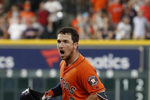 Houston Astros Alex Bregman (2) reacts after lining out during the eighth inning of an MLB baseball game at Minute Maid Park, Friday, June 22, 2018, in Houston.  ( Karen Warren  / Houston Chronicle )