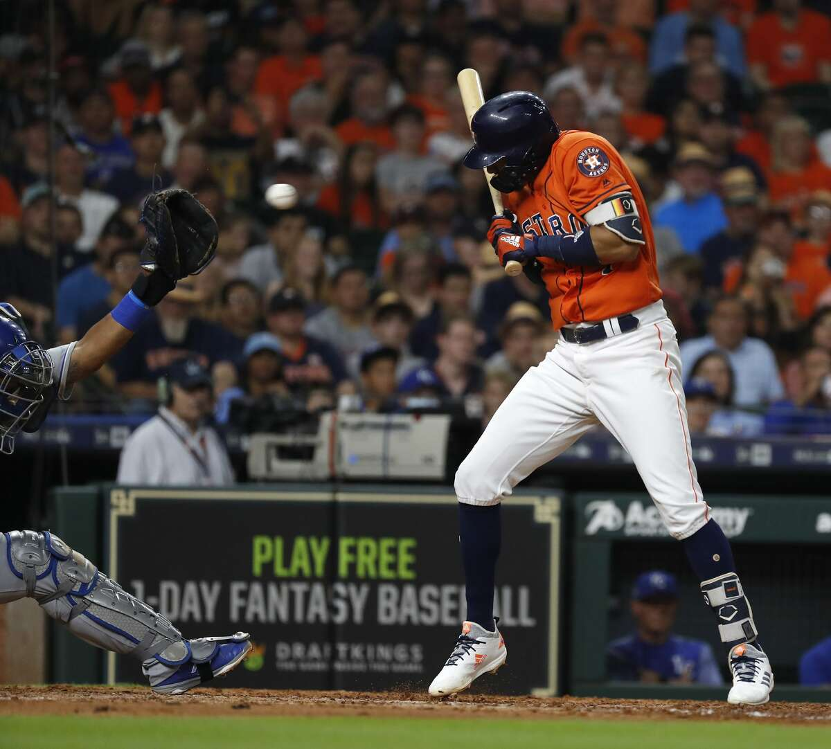 Houston Astros Carlos Correa (1) jumps back from a pitch inside from Kansas City Royals starting pitcher Danny Duffy (41) during the sixth inning of an MLB baseball game at Minute Maid Park, Friday, June 22, 2018, in Houston. ( Karen Warren / Houston Chronicle )