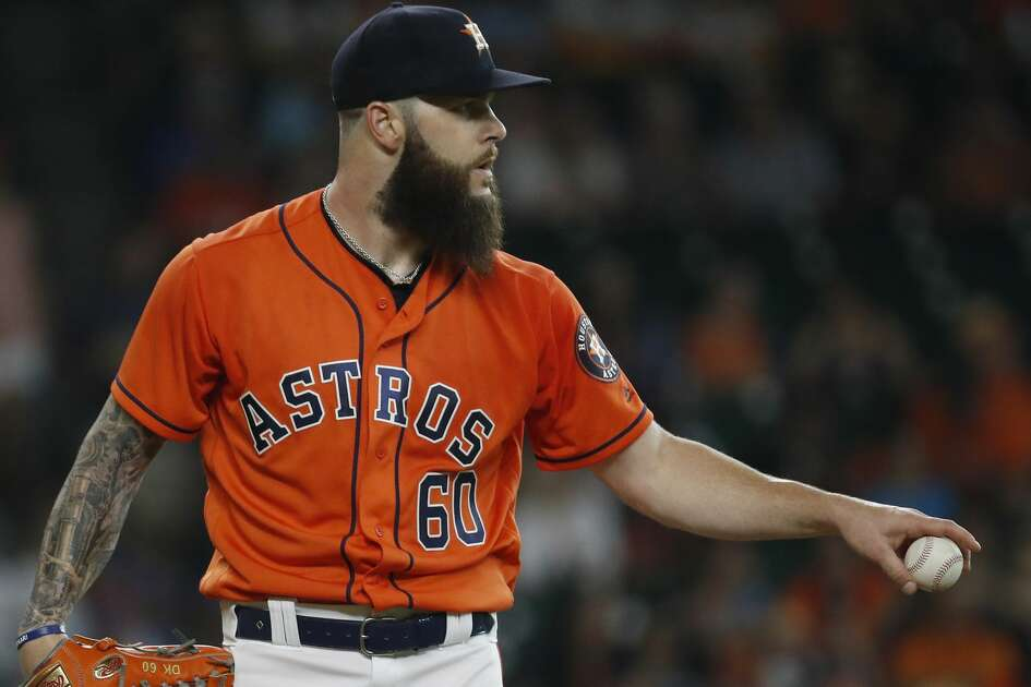 Houston Astros starting pitcher Dallas Keuchel (60) between pitches during the first inning of an MLB baseball game at Minute Maid Park, Friday, June 22, 2018, in Houston.  ( Karen Warren  / Houston Chronicle )